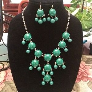 Green Statement Necklace and Earrings